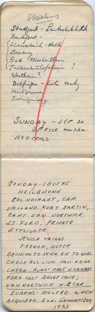 Notebook, 1945, James J. Rorimer Papers