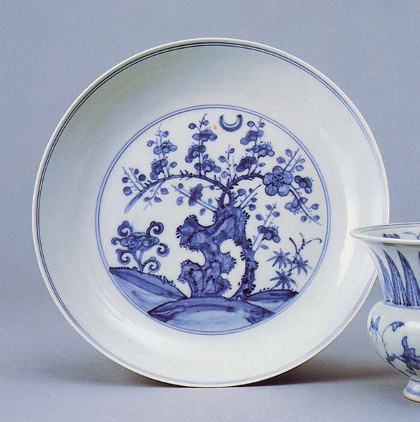 Dish with Blossoming Plum and Crescent Moon