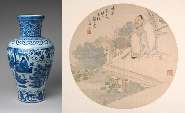 Left: Jar with Poet Zhou Dunyi; Right: Admiring Lotus