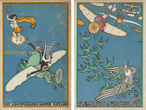 Left: The Aeroplegasus (Anzani Engines). Right: The Duke of Gramatneiss's Famous Pack of Birds