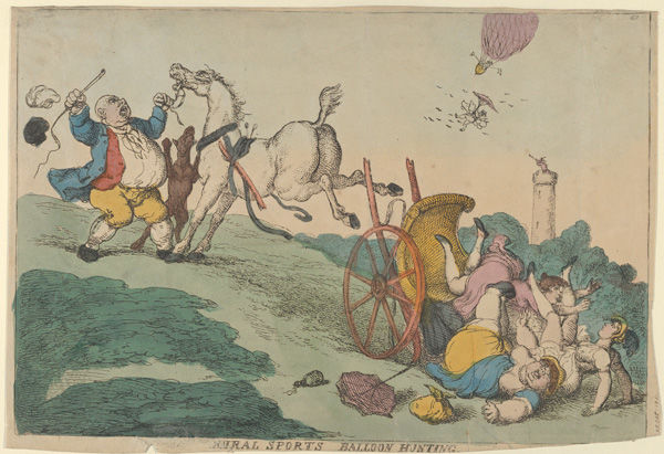 Thomas Rowlandson (1757–1827), Rural Sports: Balloon Hunting