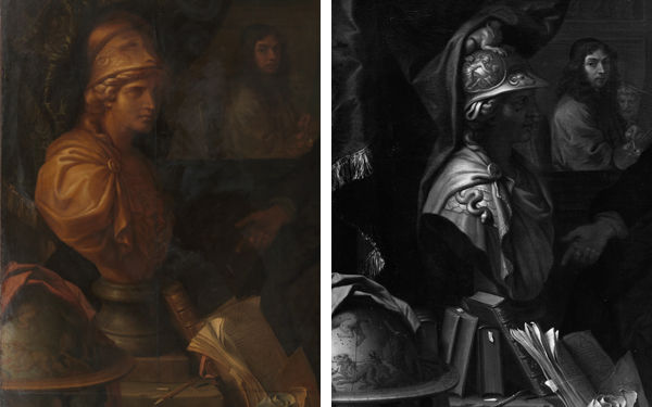 Composite of the bust of Minerva and still lifes in both works