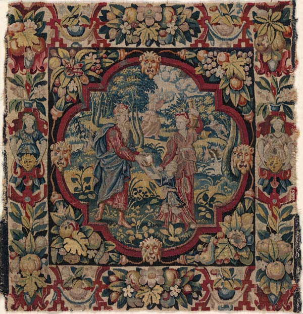 "The second in a set of six tapestry-woven cushion covers depicting ""The Expulsion of Hagar"" from Scenes from the Lives of Abraham and Isaac. Flemish, ca. 1600 (41.100.57d)"