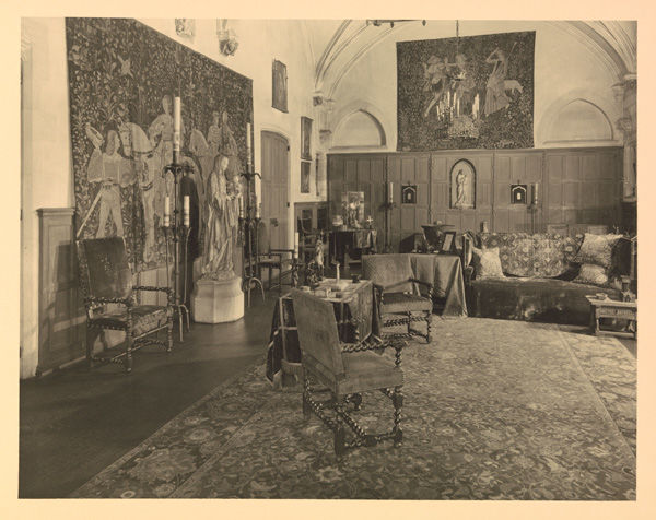 View of the Scenes from the Lives of Abraham and Isaac tapestry-woven cushion covers being used as throw pillows in the Blumenthal household. From the album The Home of George and Florence Blumenthal, Fifty East Seventieth Street, New York, 192-?. The Metropolitan Museum of Art, New York, Watson Library (106.1 B622 F)