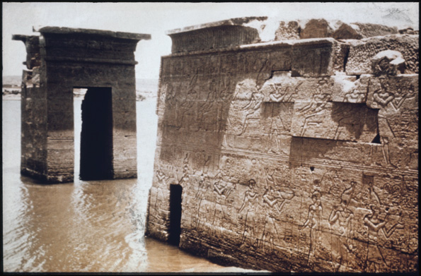 The Temple of Dendur in situ. Exterior, north side, including gateway, toward east; partly flooded. Photographed ca. 1959