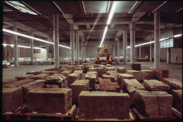 Construction of The Temple of Dendur, Third Phase, MMA Storage: blocks in North Parking Garage