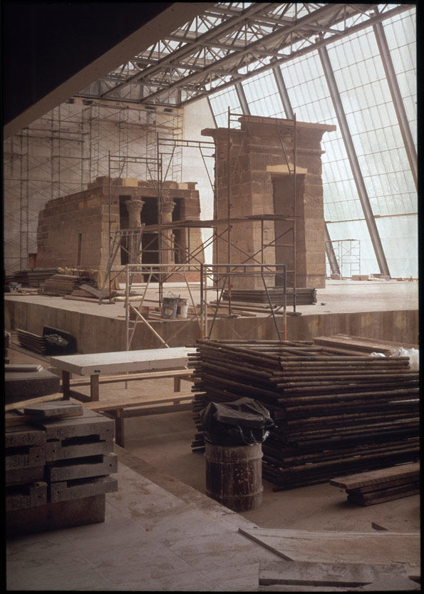 Construction of The Temple of Dendur, Fourth Phase, MMA Installation: general view, south and east sides, with materials and scaffolding in foreground