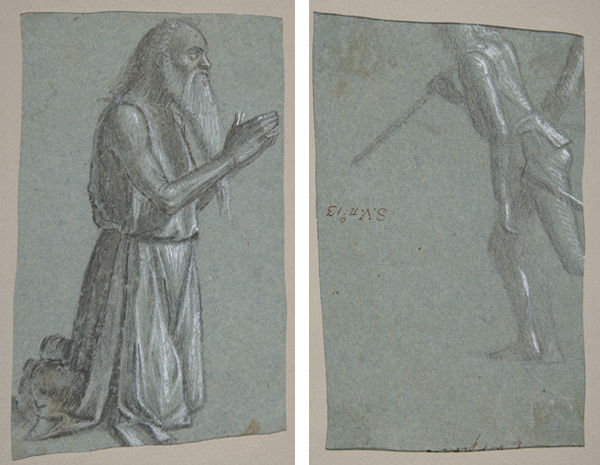 Vittore Carpaccio (Italian, 1460/66?–1525/26). Study for a Kneeling St. Jerome (recto), Study of Soldier with a Spear seen from the rear (verso), ca. 1493 (1998.14a, b)