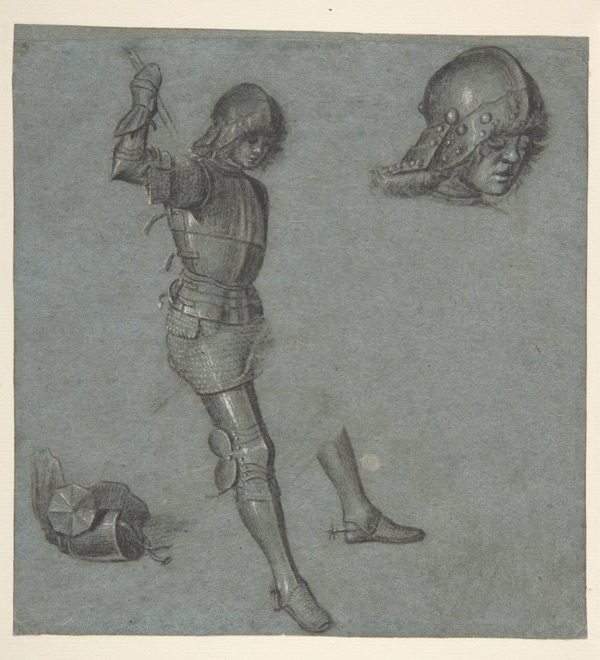 Vittore Carpaccio (Italian, 1460/66?–1525/26). Studies of a Seated Youth in Armor, ca. 1505 (54.119)