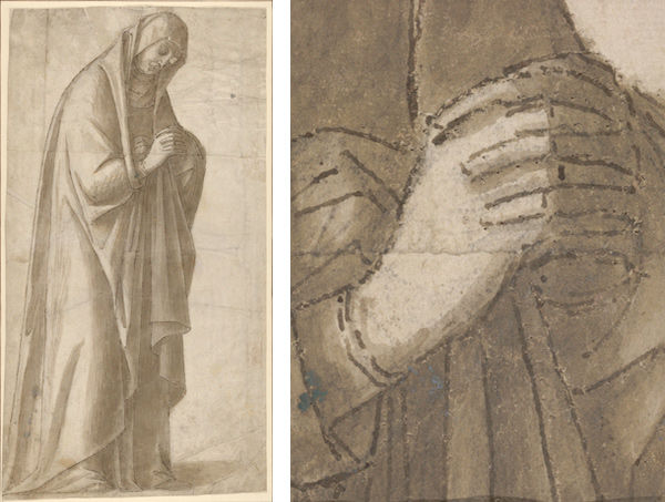 Vittore Carpaccio (Italian, 1460/66?–1525/26). Standing Female Figure (St. Anne; Cartoon for a Painting) (left); detail (right), ca. 1500–5 (2013.641)