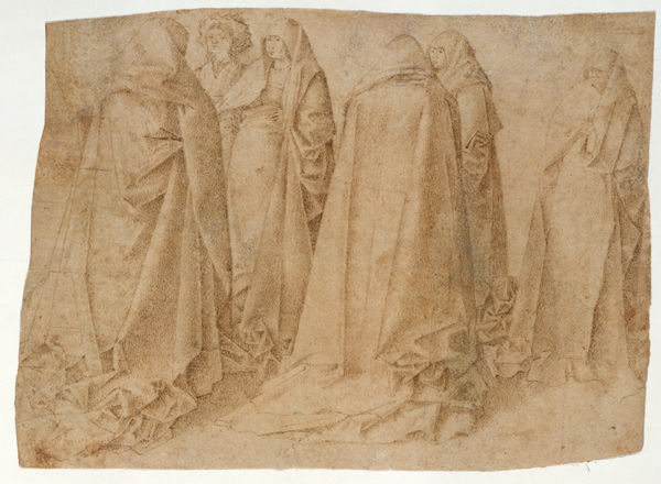Attributed to Antonello da Messina (Antonello di Giovanni d'Antonio) (Italian, ca. 1430–1479). Group of Draped Figures, early 1460s (1975.1.265)