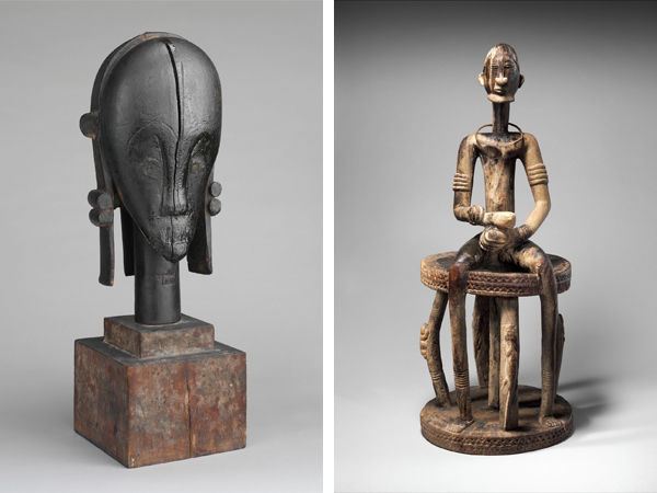 Left: Sculptural Element from a Reliquary Ensemble: Head (The Great Bieri). Gabon, 19th–early 20th century. Right: Figure: Seated Male on Stool. Mali, 16th–20th century.