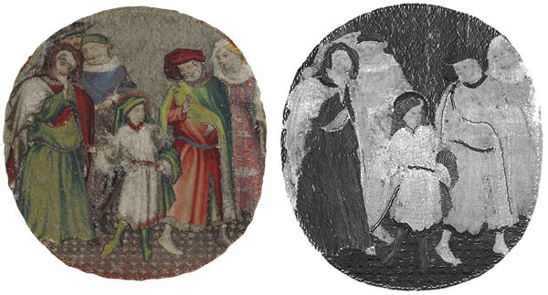 Fig. 4. Obverse of Saint Martin Announcing to His Parents That He Will Become a Christian (1975.1.1909) (left), and its radiography image (right)