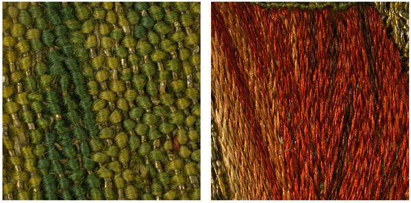 Fig. 5 a, b. Detail of the green- and red-dyed silk stitches (magnified 5x), from Saint Martin Announcing to His Parents That He Will Become a Christian (1975.1.1909) (left) and Saint Martin Brings a Dead Man to Life (1975.1.1906) (right)