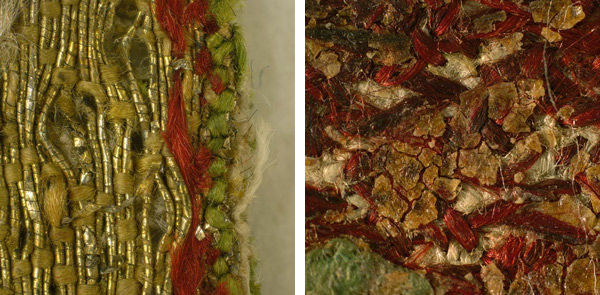 Left: Fig. 6. This magnified detail of the roundel's edge (magnified 5x) from Saint Martin Brings a Dead Man to Life (1975.1.1906), showing red and green silk thread stitches, suggests evidence of its original boundary or previous application to a vestment. Right: Fig. 7. Detail of the reverse surface of Saint Martin Brings a Dead Man to Life (1975.1.1906)