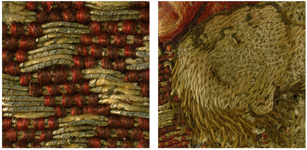 Fig.8 a, b. Detail of the damaged gilt–silver metal strip (left), and of the facial features embroidered with silk (magnified 1x) from Saint Martin Brings a Dead Man to Life (1975.1.1906) (right)