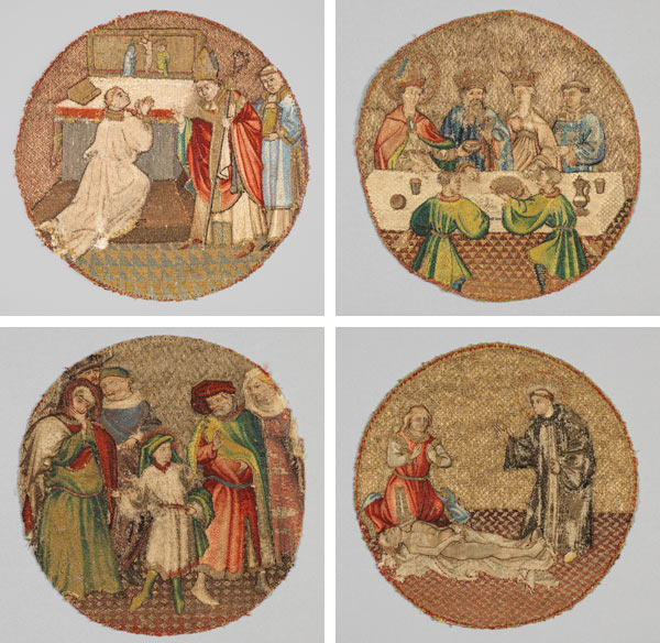 Banner image: Top left: Saint Martin and Saint Hilary, 1430–35. Flanders. Linen plain weave underlaid with linen plain weave (two layers) and embroidered with silk and gilt-metal-strip-wrapped silk in single satin, split, and stem stitches, laid work, and couching, including or nué; Diameter (above measurement of mount opening): 6 1/2 in. (16.5 cm). The Metropolitan Museum of Art, New York, Gift of Robert Lehman, 1975 (1975.1.1908). Top right: Saint Martin Offering the Wine Cup to the Priest, 1430–35. Flemish. Linen plain weave underlaid with linen plain weave (two layers) and embroidered with silk and gilt-metal-strip-wrapped silk in single satin, split, and stem stitches, laid work, and couching, including or nué; Diameter (above measurement of mount opening): 6 1/2 in. (16.5 cm). The Metropolitan Museum of Art, New York, Gift of Robert Lehman, 1975 (1975.1.1907). Bottom left: Saint Martin Announcing to His Parents That He Will Become a Christian, 1430–35. Flemish. Linen plain weave underlaid with linen plain weave (two layers) and embroidered with silk and gilt-metal-strip-wrapped silk in single satin, split, and stem stitches, laid work, and couching, including or nué; Diameter (above measurement of mount opening): 6 1/2 in. (16.5 cm). The Metropolitan Museum of Art, New York, Gift of Robert Lehman, 1975 (1975.1.1909). Bottom right: Saint Martin Brings a Dead Man to Life, 1430–35. Flemish. Linen plain weave underlaid with linen plain weave (two layers) and embroidered with silk and gilt-metal-strip-wrapped silk in single satin, split, and stem stitches, laid work, and couching, including or nué; Diameter (above measurement of mount opening): 6 1/2 in. (16.5 cm). The Metropolitan Museum of Art, New York, Gift of Robert Lehman, 1975 (1975.1.1906)