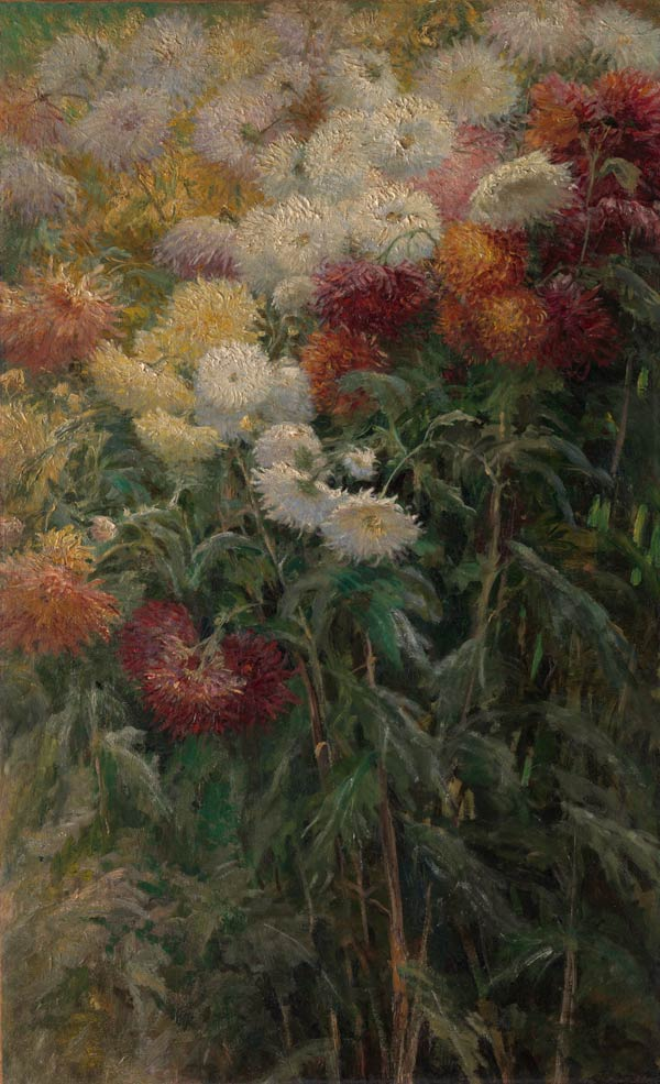 Gustave Caillebotte (French, 1848–1894). Chrysanthemums in the Garden at Petit-Gennevilliers, 1893. Oil on canvas; 38 5/8 x 23 1/2 in. (98 x 59.8 cm). The Metropolitan Museum of Art, New York, Gift of the Honorable John C. Whitehead, 2014 (2014.736)