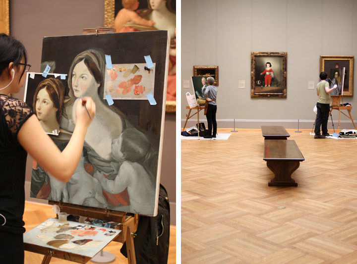 Two photos of artists involved with The Met Copyist Program at work in the Museum's galleries