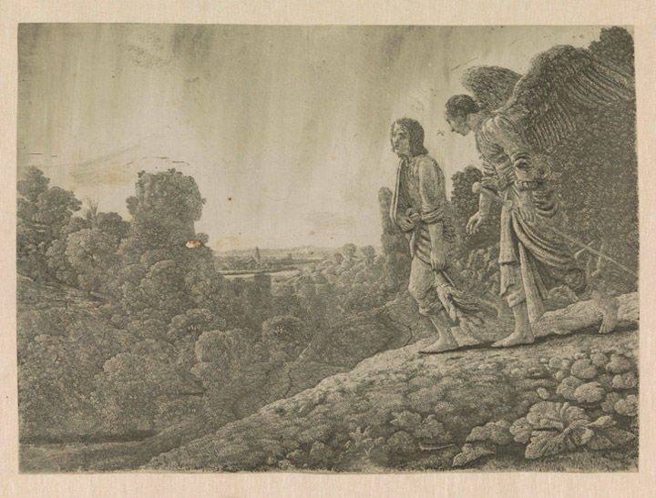 Early 17th-century etching showing the biblical figure Tobias with an angel walking through a country landscape
