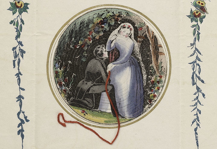 Mid-19th-century valentine showing a woman in a white gown talking with a man in formal dress
