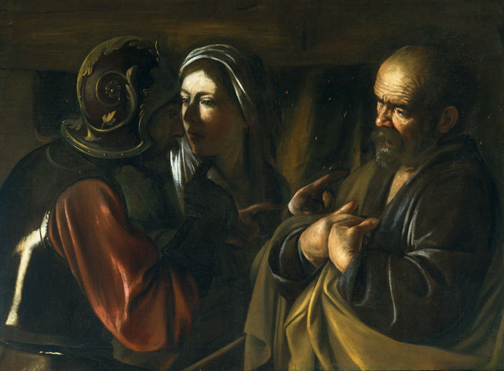 A dark oil painting showing a despondent-looking man and woman talking to a Roman soldier