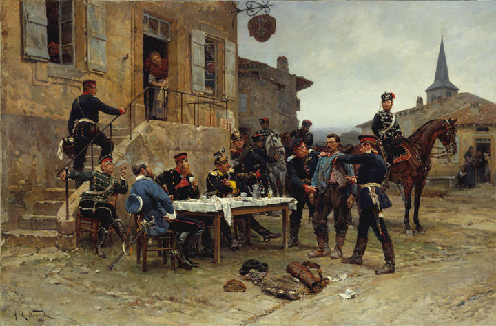 19th-century French painting depicting a group of soldiers gathered around a table out of doors