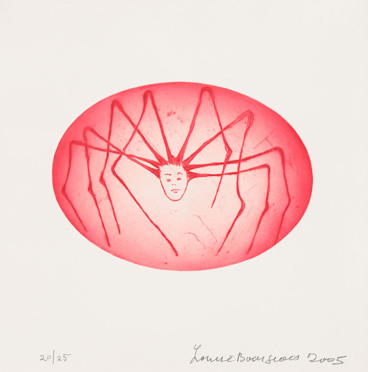 Drypoint print of a spider with a human head within an egg-shaped capsule