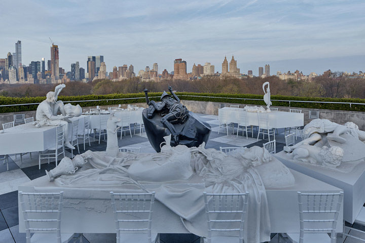 View of Adrian Villar Rojas's Theater of Disappearance on The Met's Cantor Roof Garden with the Manhattan skyline in the background