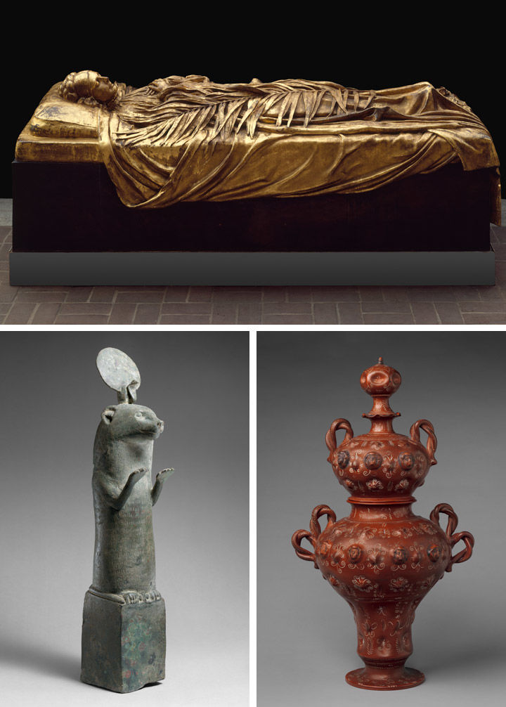 View of three objects from The Met collection: tomb effigy of Elizabeth Boott Duveneck (top); a sculpture of an otter from Ancient Egypt (bottom left); and a clay vase from Mexico (bottom right)