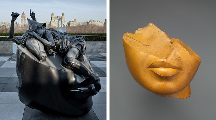 Left: View of Adrian Villar Rojas's Theater of Disappearance on The Met's Cantor Roof Garden. Right: fragment of a queen's head from Ancient Egypt