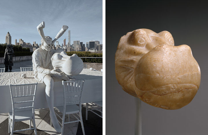 Left: View of Adrian Villar Rojas's Theater of Disappearance on The Met's Cantor Roof Garden. Right: sculpture of a head of a hippopotamus from Ancient Egypt