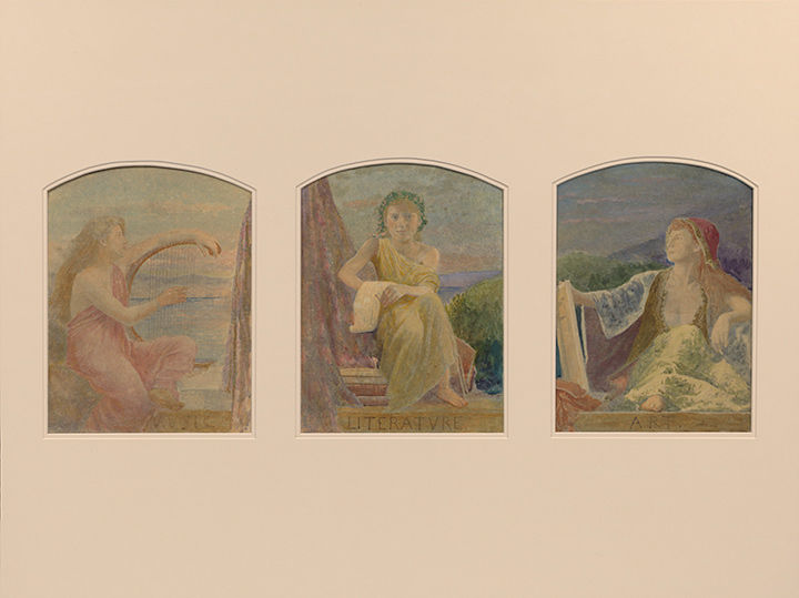 Louis Comfort Tiffany Suggestion for Three Upper Windows in Large Hall for the Residence of Mr. T. Eaton, Toronto, Canada