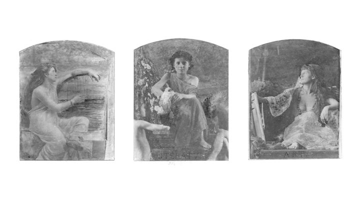 An infrared scan of the Louis Comfort Tiffany triptych