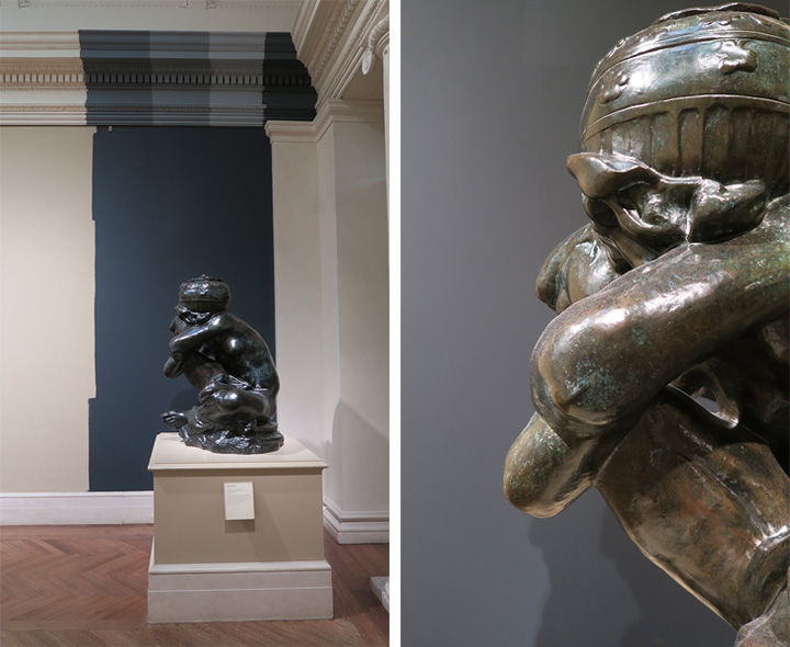 Rodin's sculptures exhibited with blue paint