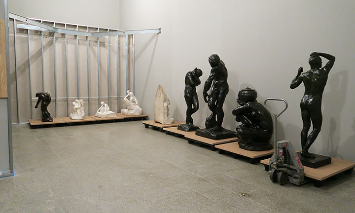 Rodin marbles and bronzes lined up in temporary storage