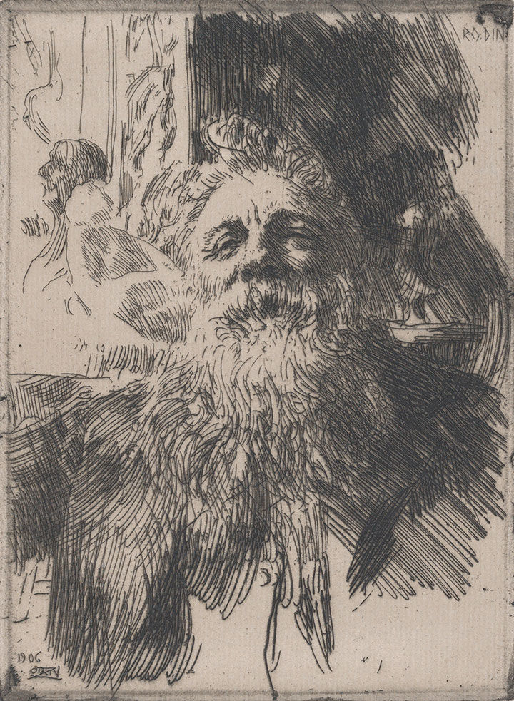 Anders Zorn etching of Auguste Rodin