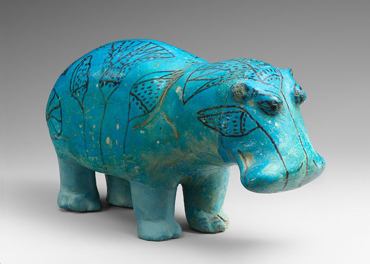 Blue ceramic hippo