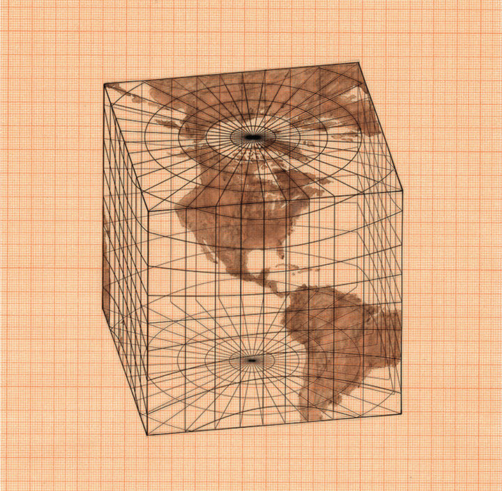 Agnes Denes's 'Study of Distorions; Isometric Systems in Isotropic Space-Map Projections: The Cube'