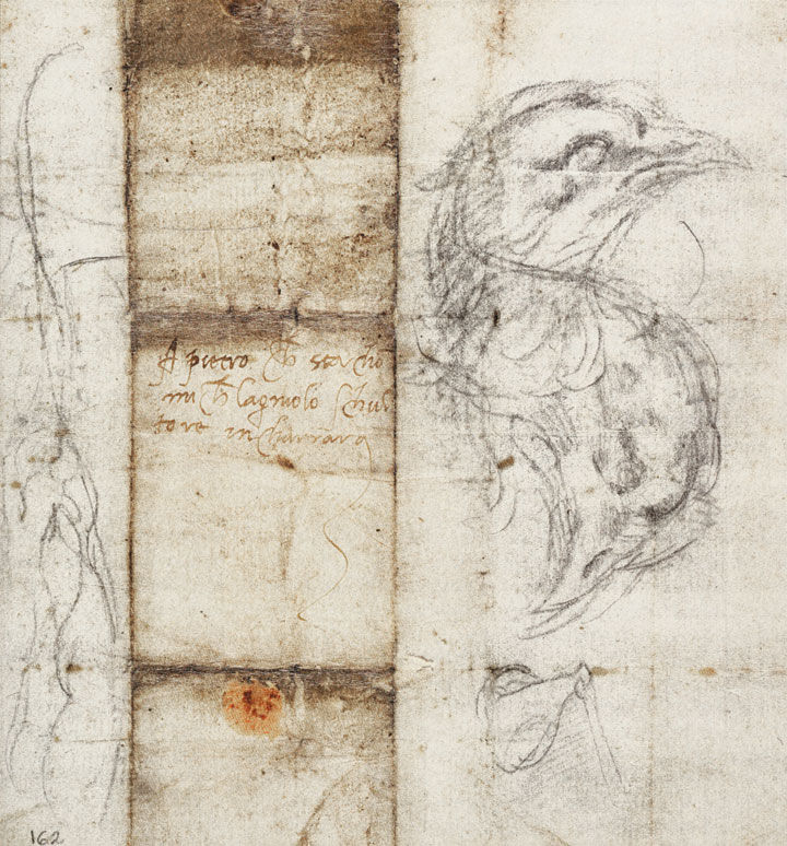 A letter Michelangelo wrote to Pietro Urbano on paper adorned with the artist's sketches of birds