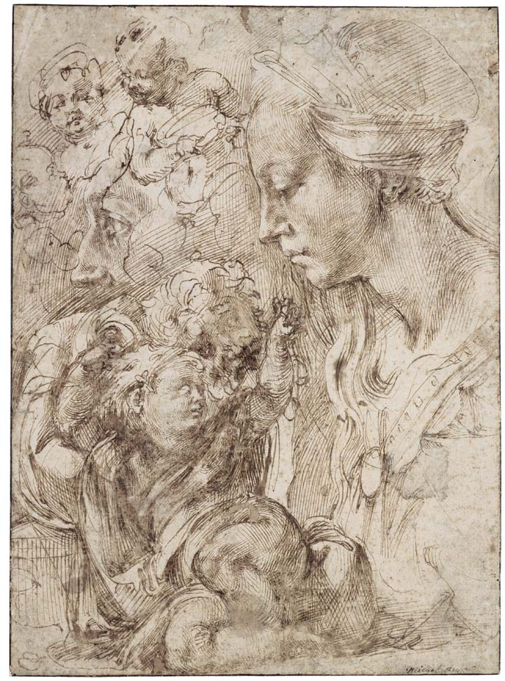 Michelangelo's sketches of the Virgin, the Christ Child reclining on a cushion, and other sketches of infants