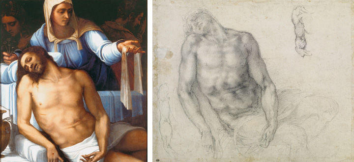 On the left, a painting of Jesus being held by the Virgin Mary by Sebastiano del Piombo. On the right, studies of the Christ as depicted in the Piombo painting