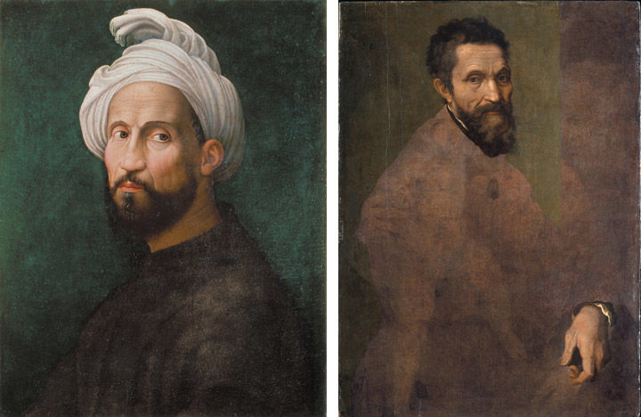 Two oil-paint portraits of Michelangelo, by Giuliano Bugiardini (left) and Jacopino del Conte (right)