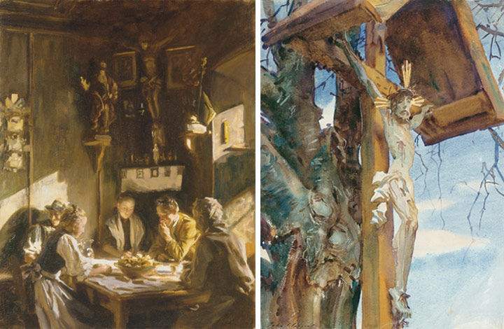 John Singer Sargent's 'Tyrolese Interior' (left) showing a family eating at a table surrounded by religious icons, and 'Tyrolese Crucifix' (right), a watercolor showing Christ on the cross