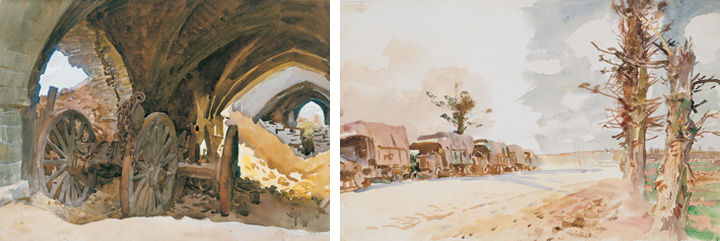 Two World War I watercolors by John Singer Sargent: 'Wheels in Vault' (left), showing a cannon amidst the rubble of a church; and 'Truck Convoy' (right), depicting a line of trucks against a barren road