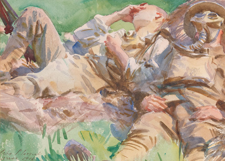 'Two Soldiers at Arras' by John Singer Sargent, a watercolor depicting two male soldiers lying on a bed of grass, one wearing a gas mask