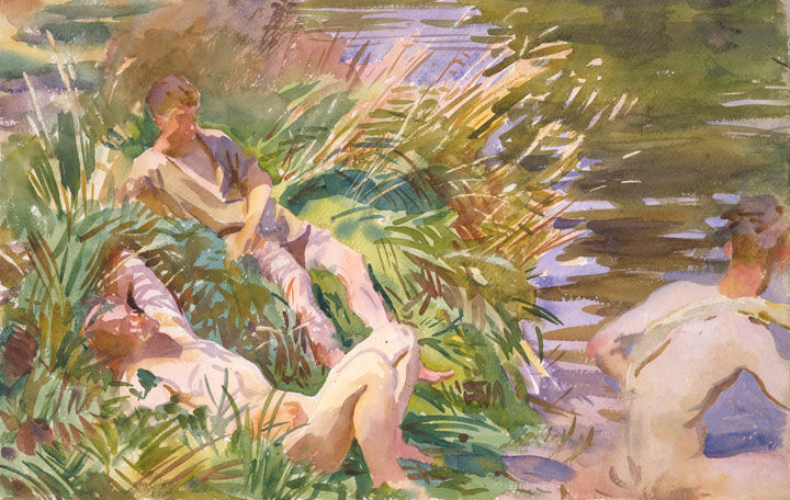 'Tommies Bathing,' a watercolor by John Singer Sargent depicting a group of nude British soldiers bathing in a river