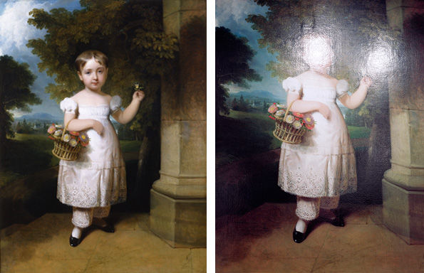 Left: Henry Inman (American, 1801–1846). Portrait of a Little Girl (Cornelia Rutgers Livingston), 1833. Right: Tim Davis (American, b. 1969). Cornelia Rutgers Livingston, 2003.