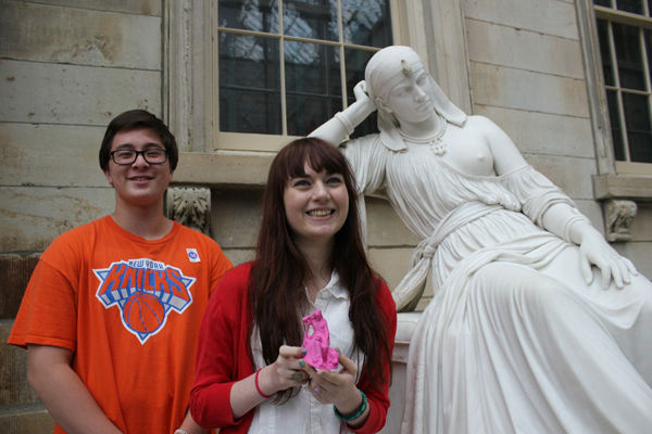 Nathaniel and Alison with the sculpture Cleopatra and their creation