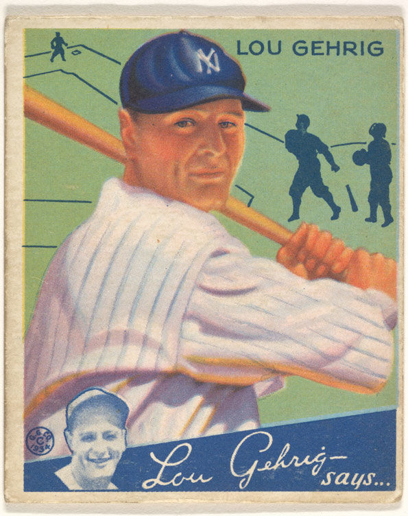 Goudey Gum Company (American, Boston, Massachusetts) | Lou Gehrig, New York Yankees, from the Big League Chewing Gum series (R320) for the Goudey Gum Company | Burdick 325, R320.61